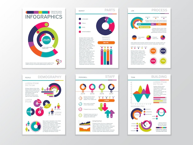 Modern business presentation documents with graphics and infographic charts.
