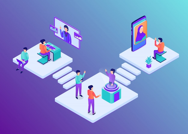 Modern business process workflow with team people work in office with isometric flat style
