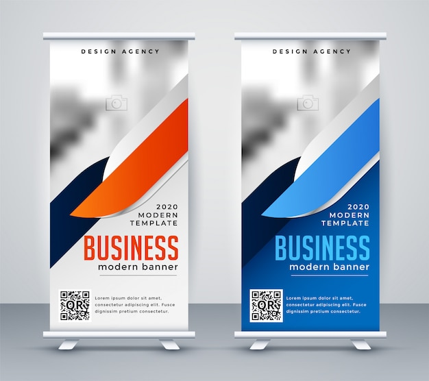 Modern business roll up banner design template