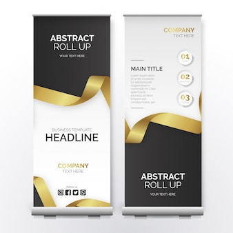 Modern business roll up with golden ribbon