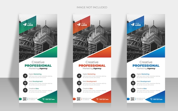 Modern business rollup or x banner template