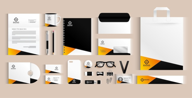 Modern business stationery elements set design