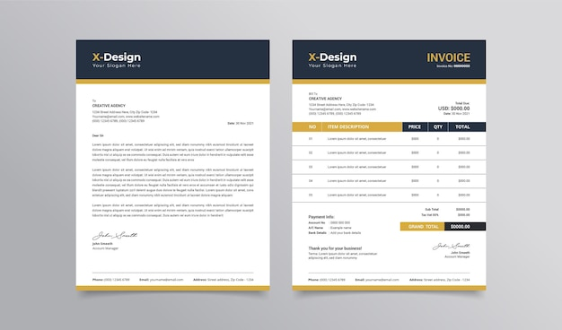 Modern business stationery letterhead and invoice template