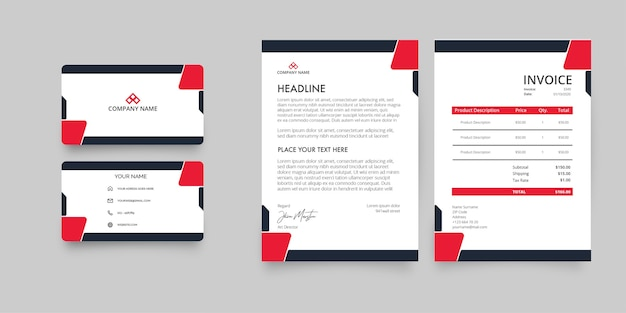 Modern business stationery pack with abstract red shapes
