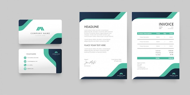 Modern business stationery pack with abstract shapes