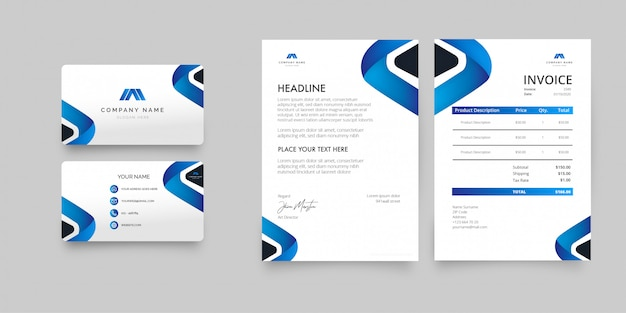 Modern business stationery pack with blue shapes