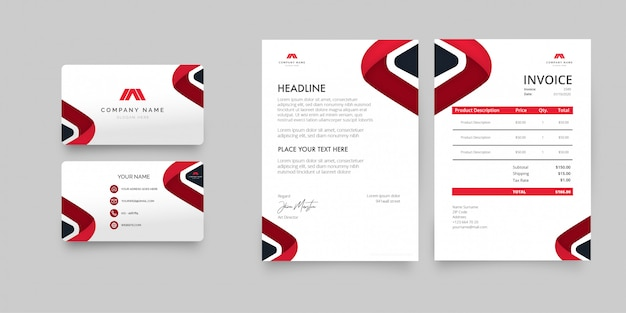 Modern business stationery pack with red shapes