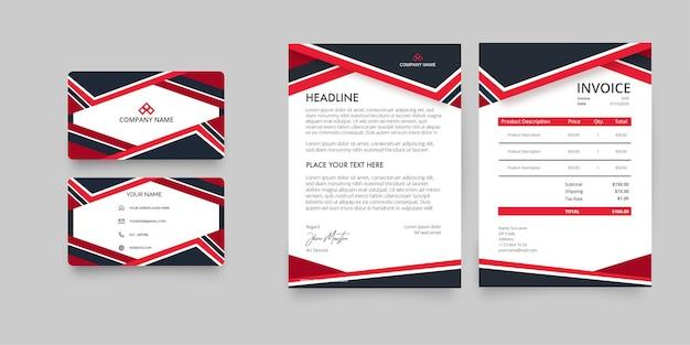 Современный пакет канцелярских товаров для бизнеса с визитной карточкой, счетом-фактурой и корпоративным бланком