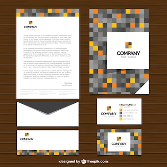 Modern business stationery with pixels