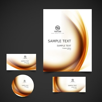 Modern business stationery with waves