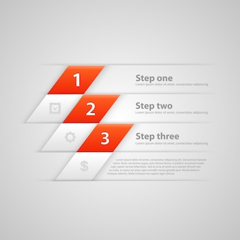Modern business steps origami style options banner