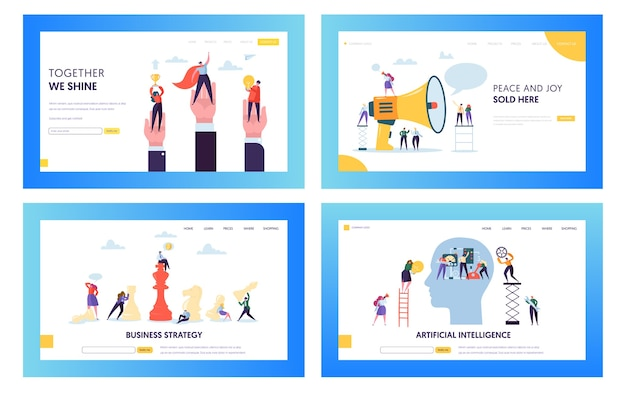 Modern business strategy concept landing page set. artificial intelligence and data science technology. people character with winner cup website or web page. flat cartoon vector illustration