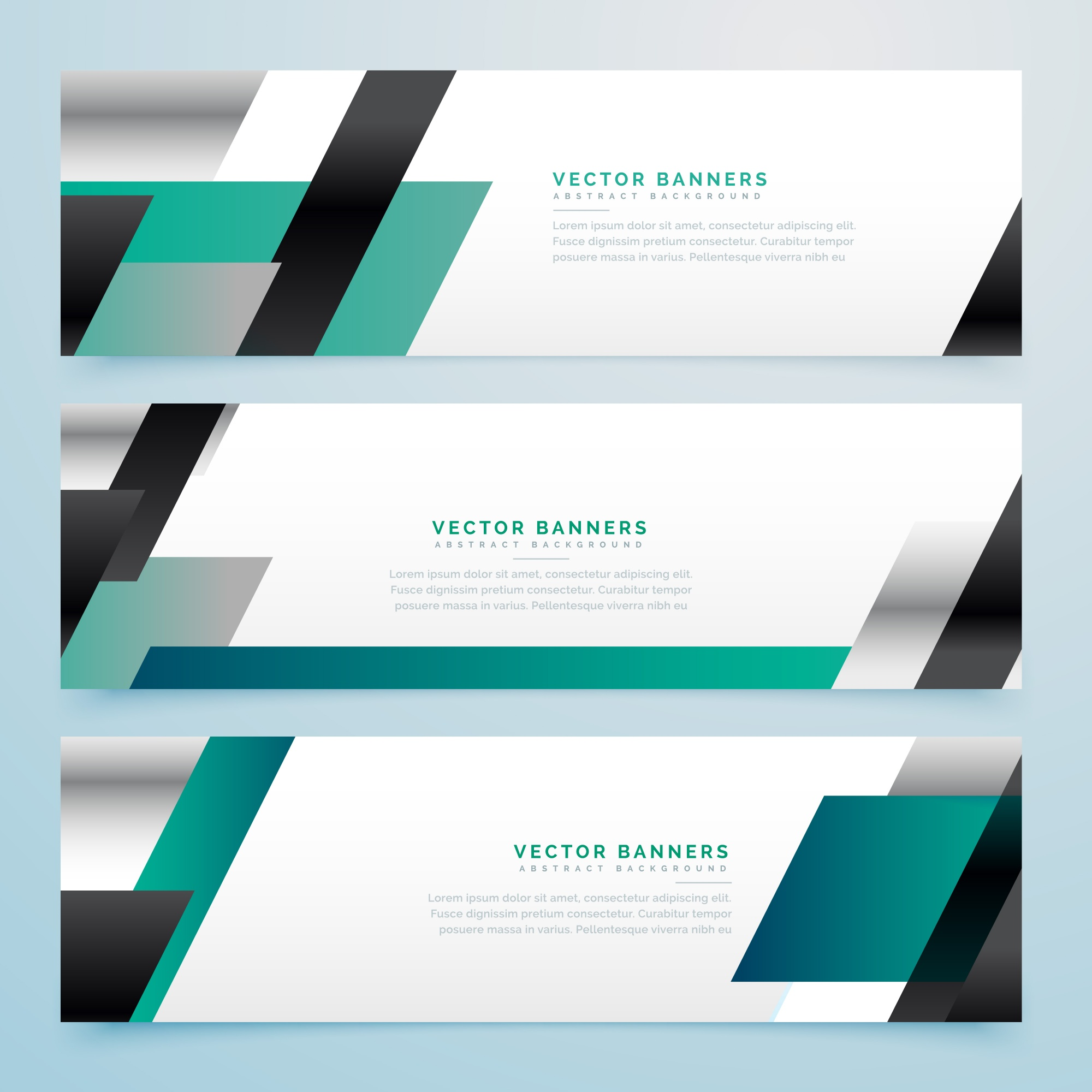 Modern business style banners with geometric shapes