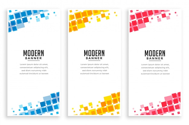 Modern business style mosaic banner set