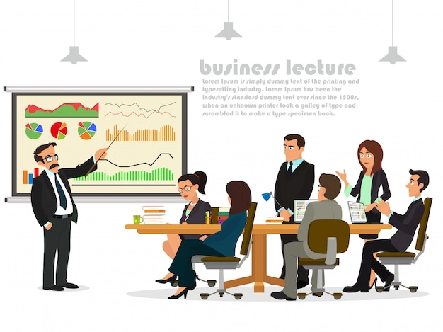 Modern business teacher giving lecture or presentation to a group of employees.
