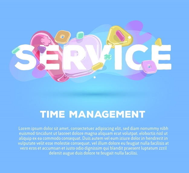 Modern business template with bright crystal  elements and word service on blue background with shadow, title and text.