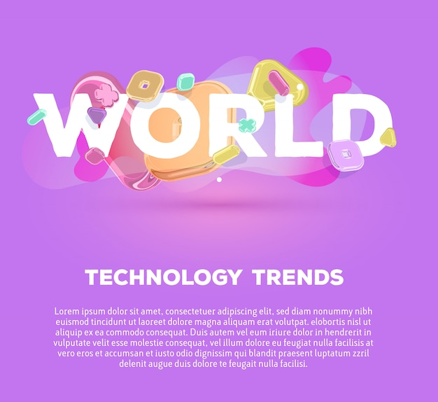 Modern business template with bright crystal  elements and word world on purple background with shadow, title and text.