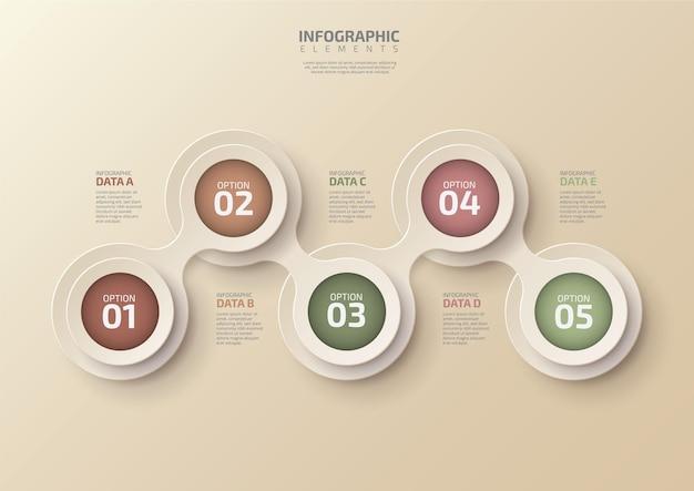 배경 요소 다이어그램을 위해 설계된 5단계 원이 있는 현대 비즈니스 타임라인 인포그래픽