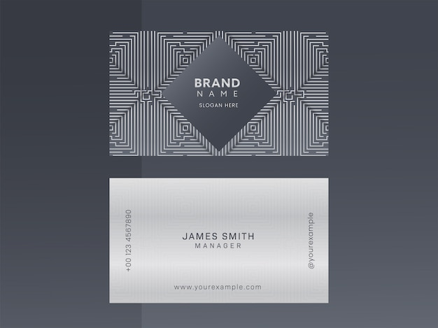 Modern business or visiting card with geometric pattern in front