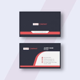 Modern business or visiting card with strip pattern in front and back view.