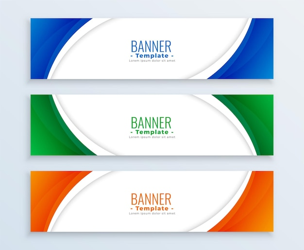 Modern business wide banners set in three colors