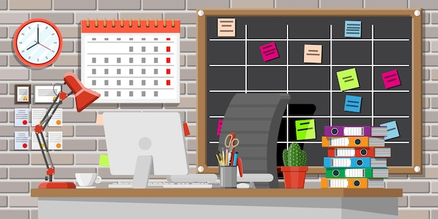 Modern business workplace. office desk with computer chair, lamp, coffee cup, cactus document papers. calendar, stationery, folders and scrum board. home workspace table. flat vector illustration