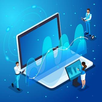 現代のビジネスマンとビジネスの女性は、ガジェット、仮想画面管理で動作し、分析、グラフ、およびダイアグラムで動作します