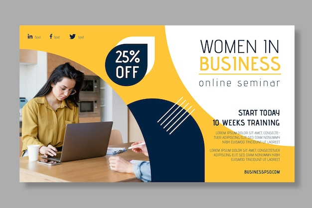 Modern businesswoman banner template