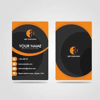 Modern bussines card potrait dark orange