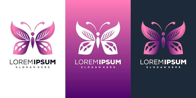 モダンな蝶のロゴデザイン