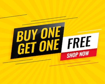 Modern buy one get one free sale yellow banner design