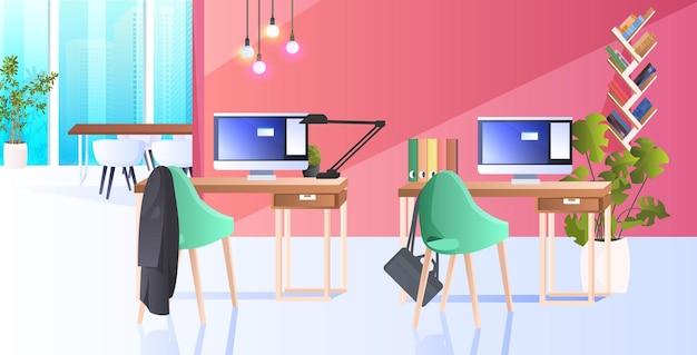 モダンなキャビネットインテリアクリエイティブコワーキングセンター誰もいないオープンスペースのオフィスルーム家具付き水平