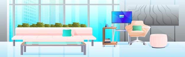 水平方向の家具を備えたモダンなキャビネットインテリアオフィスルーム
