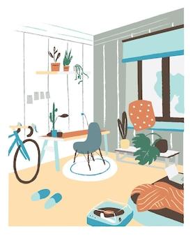机、椅子、ベッド、鉢植えの植物を備えたスカンディックヒュッゲスタイルのモダンなキャビネットまたはベッドルーム。スタイリッシュで快適なスカンジナビアのアパートのインテリア。フラットでカラフルな手描きのベクトル図です。