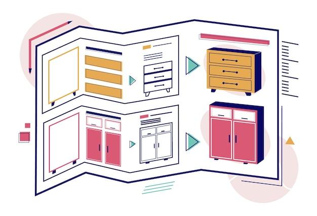 Современный шкаф, чертежи гардероба, векторные иллюстрации. дизайн мебели.