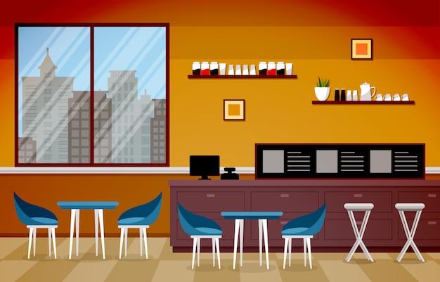 Modern cafe coffee shop interior furniture restaurant