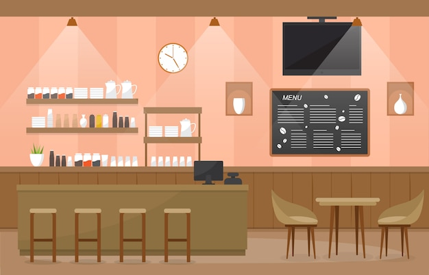 Modern cafe coffee shop interior furniture restaurant