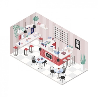Modern cafe, coffee shop, restaurant interior in isometric style. colorful illustration