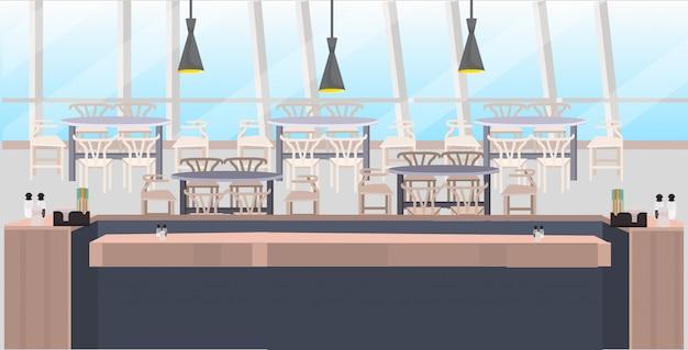 モダンなカフェが空の人レストランカウンターデスクテーブルと椅子のコーヒーショップインテリアフラット水平