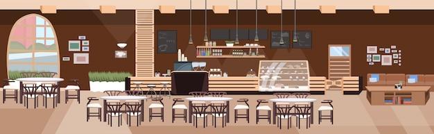 モダンなカフェ空テーブルと椅子のないコーヒーショップインテリアフラット水平バナーの人レストランホール