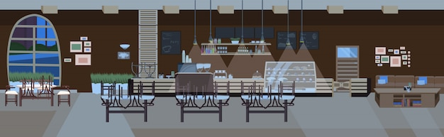 Modern cafe empty no people restaurant hall with tables and chairs night coffee shop interior flat horizontal banner
