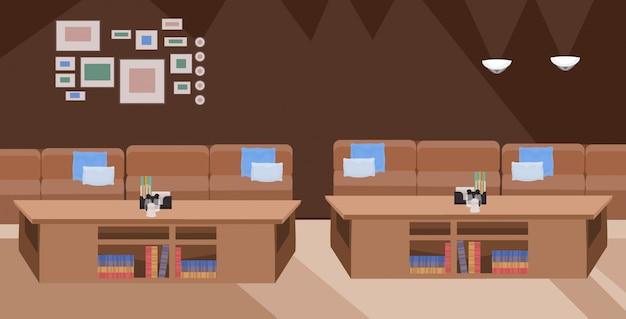 Современное кафе пусто нет людей ресторан со столом и удобным диваном современная мебель кафе интерьер плоский горизонтальный