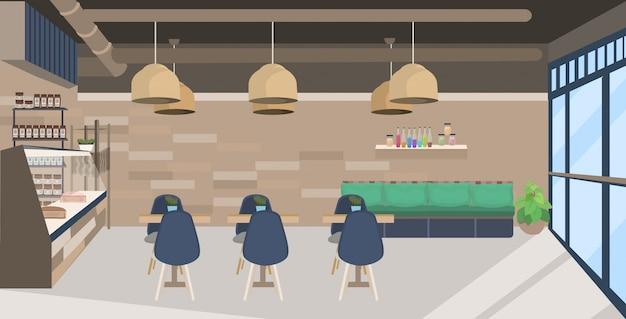 モダンなカフェが空の人とレストランのないテーブルと椅子のコーヒーショップインテリアフラット水平