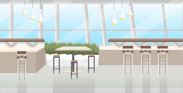 Modern cafe interior empty no people restaurant with furniture flat horizontal