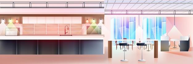 현대적인 카페 인테리어는 주방이 수평인 비어 있는 사람이 없는 레스토랑