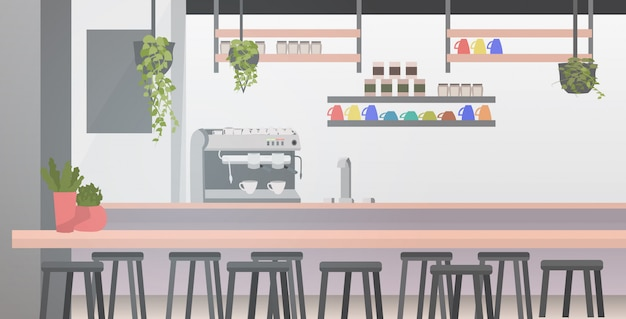 Modern cafe with furniture