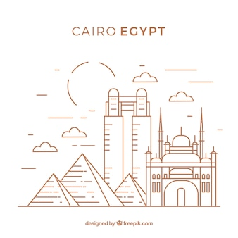 Modern cairo skyline with lineal style