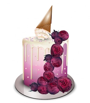 Modern cake with flowers and ice cream cone