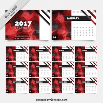 Modern calendar 2017 in polygonal style