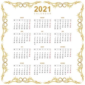 Modern calendar 2021 floral template design